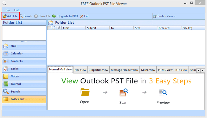 Read PST File without Outlook 2.0 full