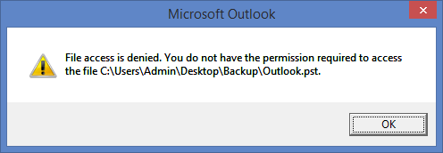 file access denied outlook pst